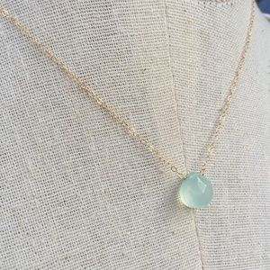 14K Gold/ Ster. Aqua Chalcedony Droplet Necklace